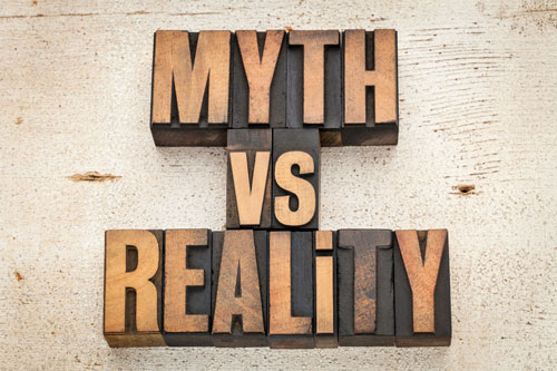 A sign that says, 'myths vs. reality'.